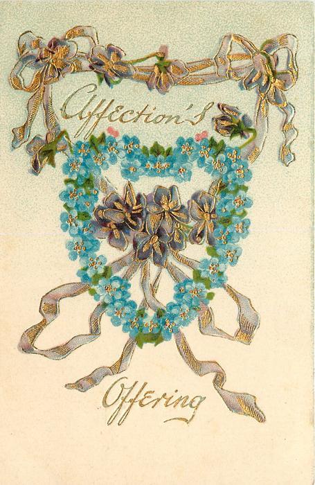 AFFECTION'S OFFERING  violets inside forget-me-not-hearts