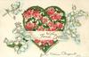 WITH FOND LOVE  heart shaped outline with red roses inside, lilIies-of- the-valley around