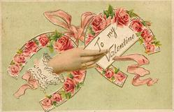 TO MY VALENTINE  hand holding letter in front of two horseshoes with red roses inside them
