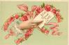 WITH FOND LOVE   hand holding letter in front of two horseshoes with red roses inside them