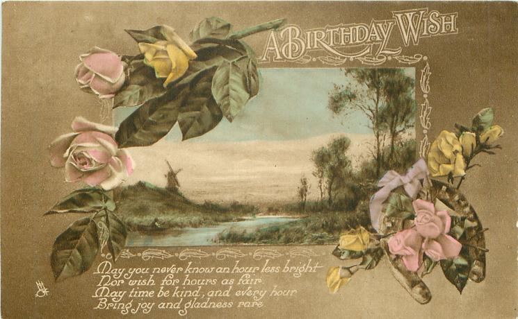 A BIRTHDAY WISH  roses  inset Dutch scene  horseshoe low right