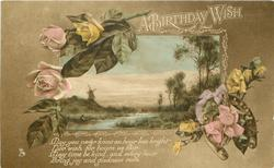 A BIRTHDAY WISH  roses  inset Dutch scene  horseshoe low right