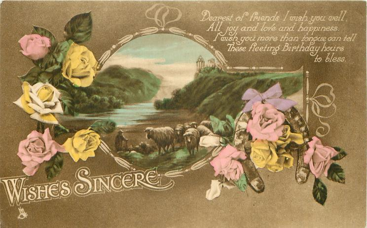 WISHES SINCERE   roses around inset lochside rural scene with sheep  horseshoe low right