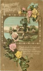 BIRTHDAY THOUGHTS horsehshoe upper right, roses, inset punt in river, buildings behind