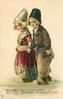TO MY SWEET VALENTINE  Dutch boy and girl hold hands, boy has book in left hand