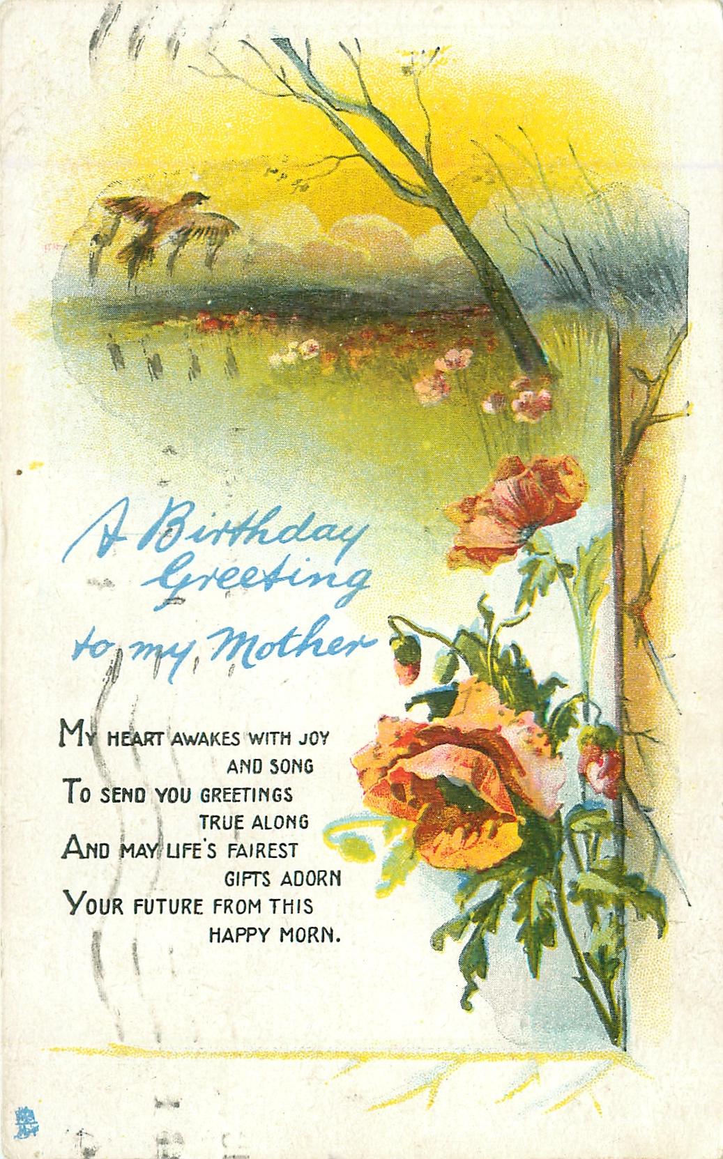A Birthday Greeting To My Mother Poppies Meadow Skylark Tuckdb
