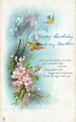A HAPPY BIRTHDAY TO MY MOTHER blossom left, two brown birds above
