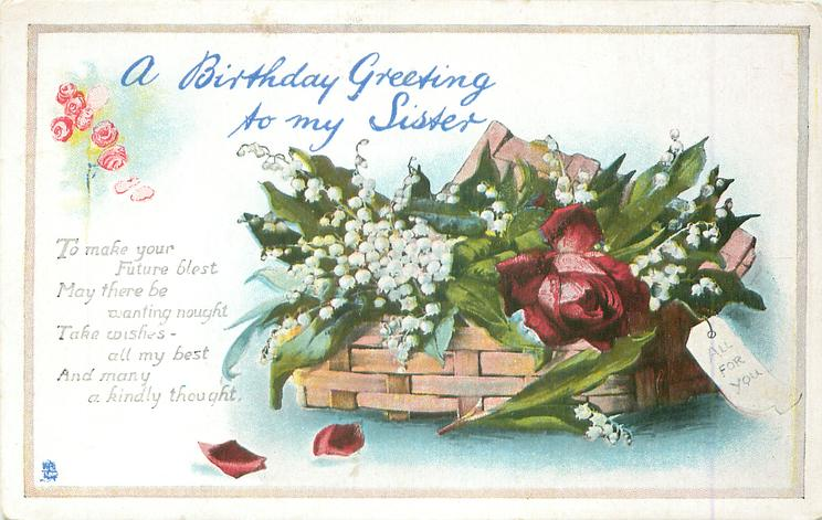 A Birthday Greeting To My Sister Basket Of Lilies Of The