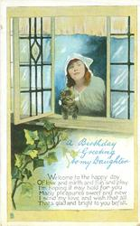 A BIRTHDAY GREETING TO MY DAUGHTER woman & kitten look out of open window