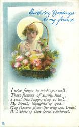 BIRTHDAY GREETINGS TO MY FRIEND girl looks through handle of flower basket, sun behind