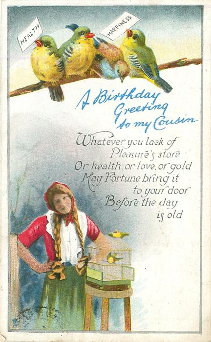 a birthday greeting to my cousin four lovebirds perch above girl holding health  u0026 happiness