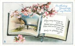 BIRTHDAY GREETINGS TO MY UNCLE  book shows sheep driven on road, blossom