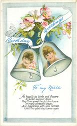 BIRTHDAY GREETINGS TO MY NIECE girls faces inset in bells, blossom above