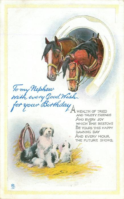 TO MY NEPHEW WITH EVERY GOOD WISH FOR YOUR BIRTHDAY two horses inset in horseshoe above sheep-dogs below