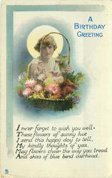 A BIRTHDAY GREETING girl looks through handle of flower basket, sun behind