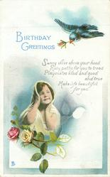 BIRTHDAY GREETINGS  blue bird above, child & roses below