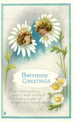 BIRTHDAY GREETINGS daisies & two flower faces