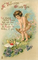ST. VALENTINE GREETS YOU  TIS PLEASANT TO THINK OF HEARTS KIND AND TRUE, AND THAT IS THE REASOM I'M THINKING OF YOU  cupid looks at butterflies, violets below