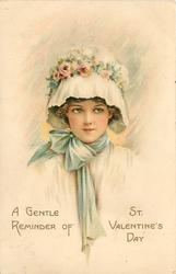 A GENTLE REMINDER OF ST. VALENTINES DAY  girl's head & shoulders, blue ribbon