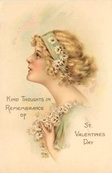 KIND THOUGHTS IN REMEMBRANCE OF ST. VALENTINES DAY  girl's head & shoulders, daisies