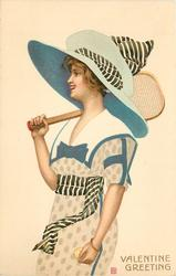VALENTINE GREETING woman with large hat faces left, has tennis racquet on right shoulder