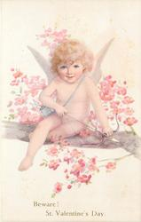 BEWARE! ST. VALENTINE'S DAY  cupid bow and arrow  sits on branch of blossom tree