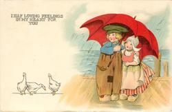 I HAF LOVING FEELINGS IN MY HEART FOR YOU  Dutch boy & girl shelter under red umbrella