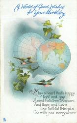 A WORLD OF GOOD WISHES FOR YOUR BIRTHDAY two birds fly below two globes, ivy between