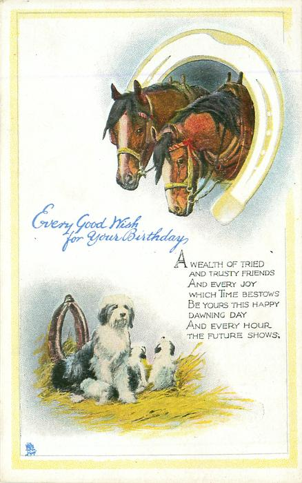 EVERY GOOD WISH FOR YOUR BIRTHDAY two horses inset in horseshoe above sheep-dogs below