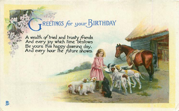 GREETINGS FOR YOUR BIRTHDAY  girl feeding dogs, horse & barn right