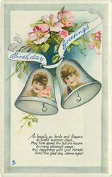BIRTHDAY GREETINGS girls faces inset in bells, blossom above