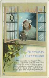 BIRTHDAY GREETINGS woman & kitten look out of open window