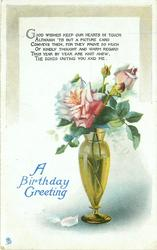 A BIRTHDAY GREETING roses in vase