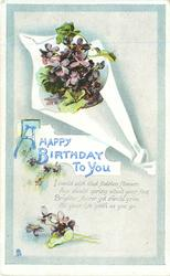 A HAPPY BIRTHDAY TO YOU  I WOULD WISH THAT FADELESS FLOWERS AYE SHOULD SPRING ABOUT YOUR FEET BRIGHTER, FAIRER/YOU GO  violets above & below