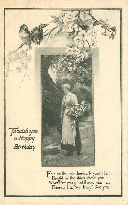 TO WISH YOU A HAPPY BIRTHDAY two birds & blossom above inset of woman carrying basket