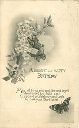 A BRIGHT AND HAPPY BIRTHDAY blossom left butterflies right & below
