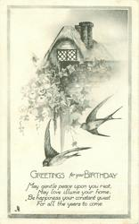 GREETINGS FOR YOUR BIRTHDAY cottage & ivy above two swallows