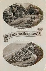 2 insets, GREETINGS FROM BOURNEMOUTH, BOSCOMBE GARDENS/ZIG-ZAG WALK BOSCOMBE
