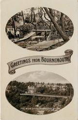 2 insets, GREETINGS FROM BOURNEMOUTH, CHILDRENS'S CORNER/ THE ALUM CHINE SUSPENSION BRIDGE