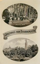 2 insets, GREETINGS FROM BOURNEMOUTH, INVALID'S WALK/UPPER GARDENS AND MONT DORE HOTEL