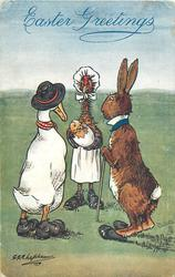 duck left, brown rabbit with cane right, face chicken in apron and hat holding chick in egg