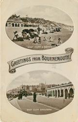 2 insets, GREETINGS FROM BOURNEMOUTH, EAST CLIFF & SANDS/EAST CLIFF  SHELTERS
