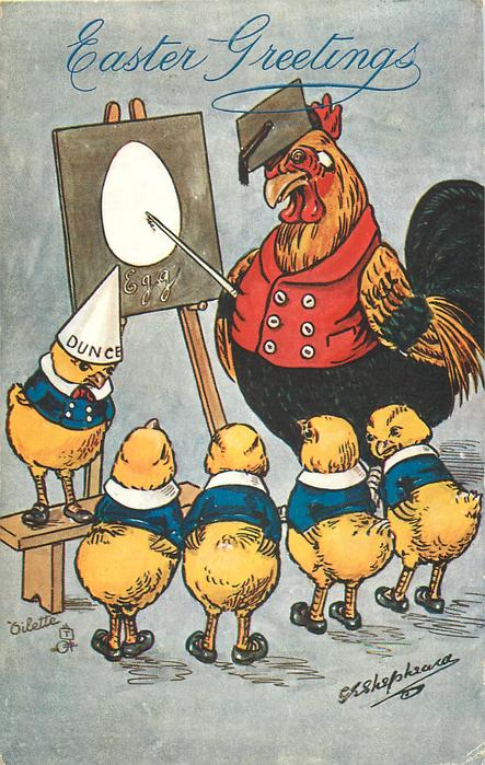 cockerel schoolmaster lectures to five chicks (one DUNCE)