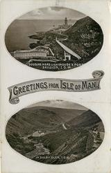 2 insets, GREETINGS FROM ISLE OF MAN, DOUGLAS HEAD LIGHTHOUSE & PORT SKILLION, I.O.M./IN SULBY GLEN, I.O.M.