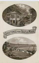 2 insets, GREETINGS FROM ISLE OF MAN, GROUDLE GLEN, I.O.M./LOCH PROMENADE, DOUGLAS, I.O.M.