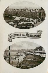 2 insets GREETINGS FROM MORECAMBE, ERVING TERRACE AND GARDENS//CENTRAL PROMENADE AND WINTER GARDENS