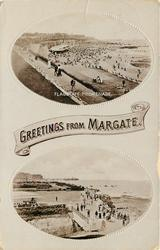 2 insets, GREETINGS FROM MARGATE  FLAGSTAFF PROMENADE/NEW BRIDGE AT NEWGATE GAP