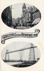 2insets, GREETINGS FROM NEWPORT, MON.  COMMERCIAL STREET/TRANSPORTER BRIDGE , LOOKING N.W.