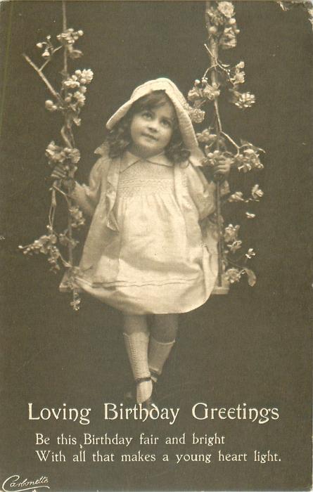 LOVING BIRTHDAY GREETINGS girl swings hand on each rope, blossom round ropes