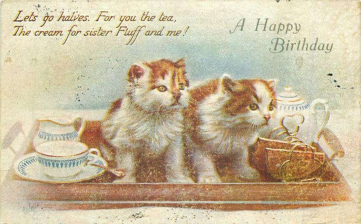 A HAPPY BIRTHDAY two kittens on tea tray